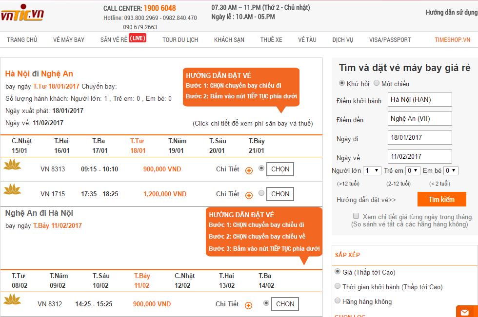 Đặt vé máy bay tết từ Hà Nội đi Vinh sớm nhất tại Vntic