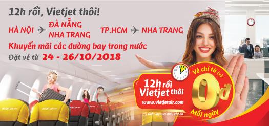 Vietjet Air tung vé 0 đồng khuyến mại ngày 24-26/10