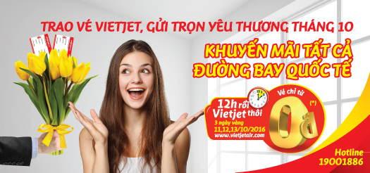 Vietjet Air tung vé 0 đồng khuyến mại ngày 20/10