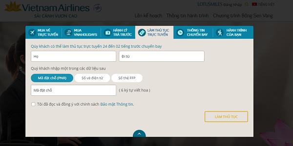 Hướng dẫn làm thủ tục Check in trực tuyến hãng Vietnam Airlines