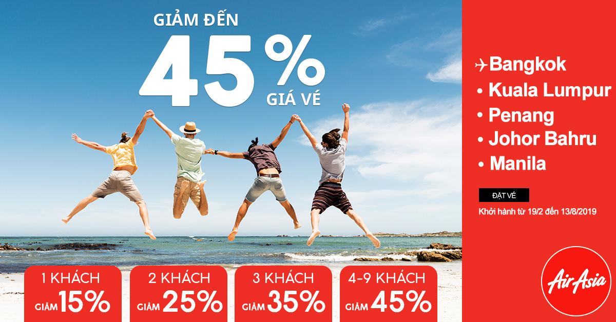 Giảm giá vé 45% cho nhóm, tặng sim ở sân bay Bangkok