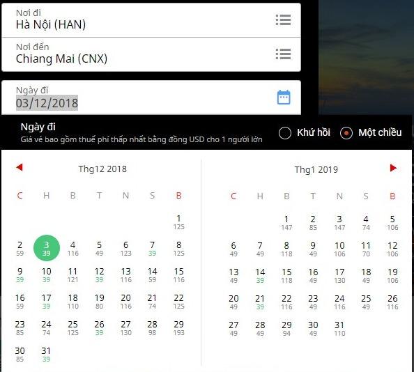 Hà Nội bay thẳng Chiang Mai giá 39 USD, Sài Gòn sang Bangkok giá 32 USD